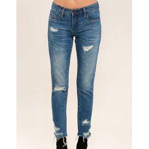 Blank NYC Crop Girlfriend Distressed Jeans